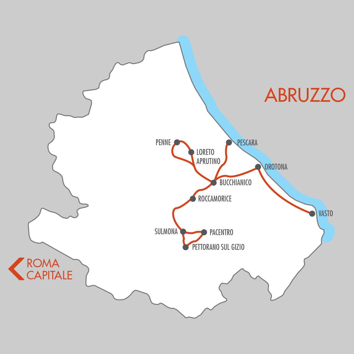 Abruzzo 5 Day Tour Map