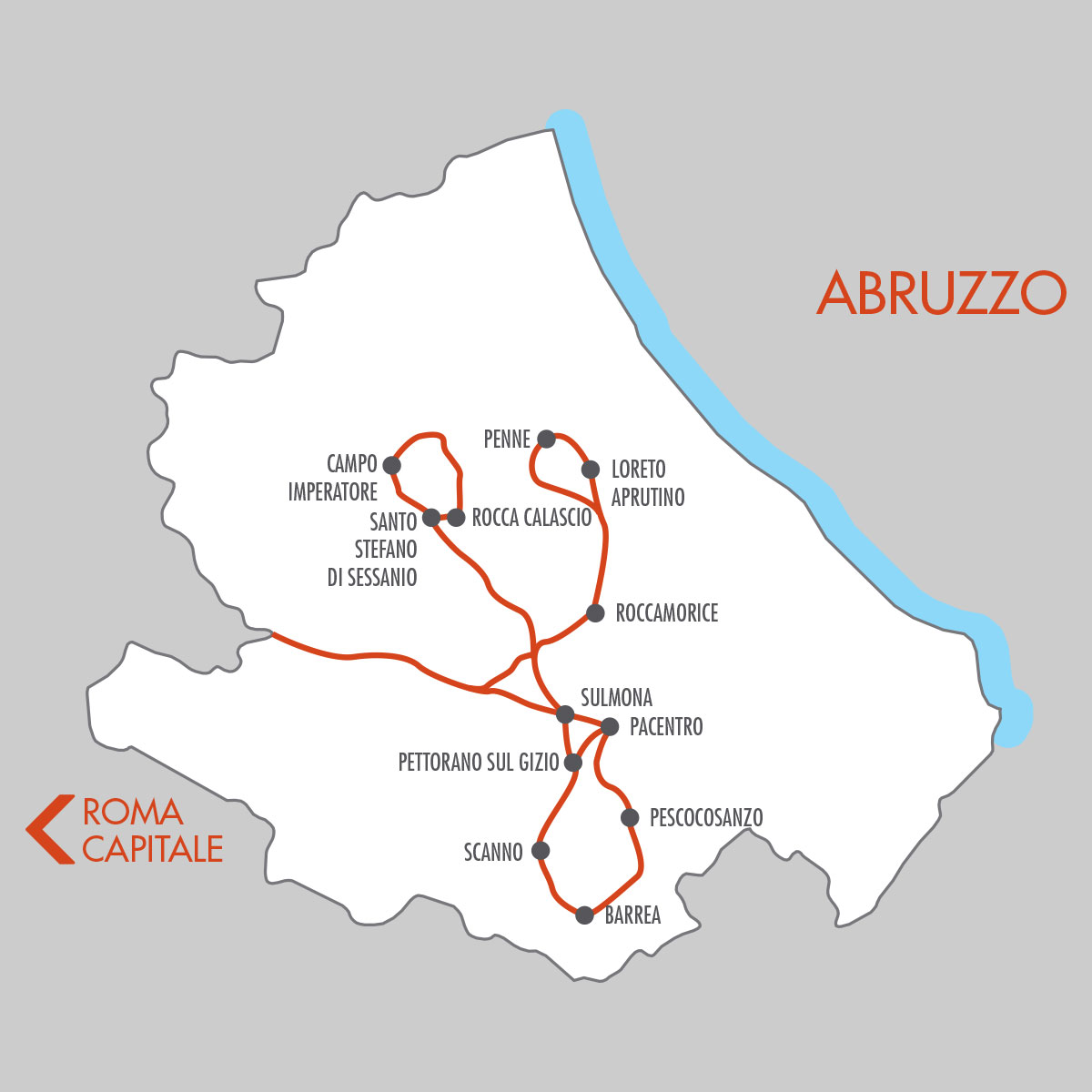 Abruzzo Italy 8 Day Tour Map