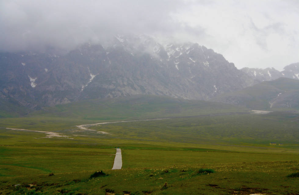 Campo Imperatore and the Gran Sasso Mountains on a stormy day