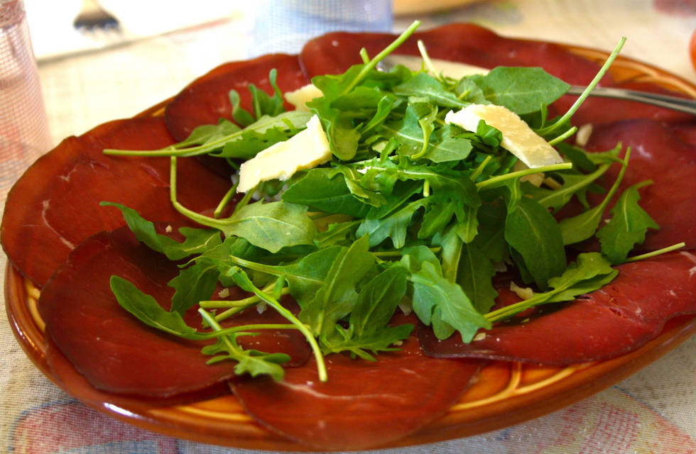 Enjoy insalata of bresaola, roquette and parmigiano on Italian Provincial Tours food tour Italy