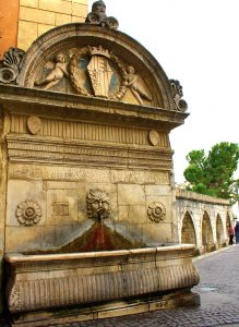 Roman aqueduct and fountain in Sulmona, Abruzzo Italy