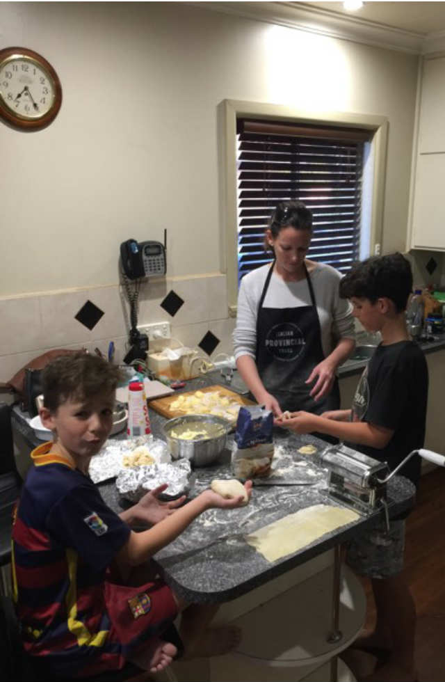 Sam and her two sons making ravioli back in Wangaratta, Australia