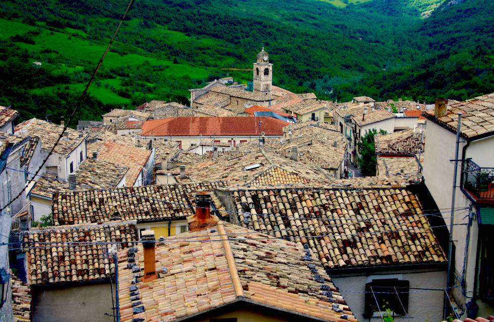 Caramanico Terme's textural rooftops on our Boutique Italy Tours