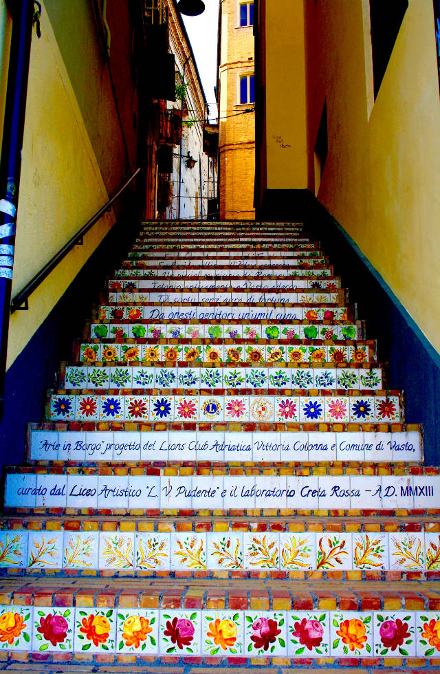 Colourful stairs in Vasto, Abruzzo bespoke Italy tours