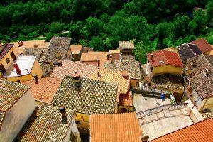 Textured Rooftops of Pettorano sul Gizio in Abruzzo, Italy